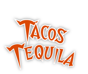 Tacos and Tequila logo with white wings