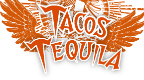 Tacos and Tequila logo with red wings